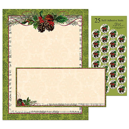 "Great Papers! Holiday Stationery Kit, 8 1/2"" x 11"", Pinecone Garland, Set Of 25"