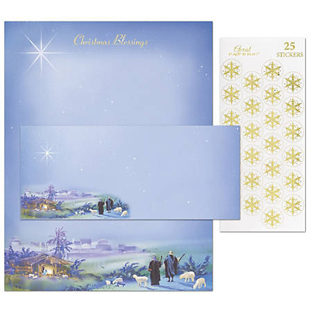 "Great Papers! Holiday Stationery Kit, 8 1/2"" x 11"", Wondrous Light, Set Of 25"