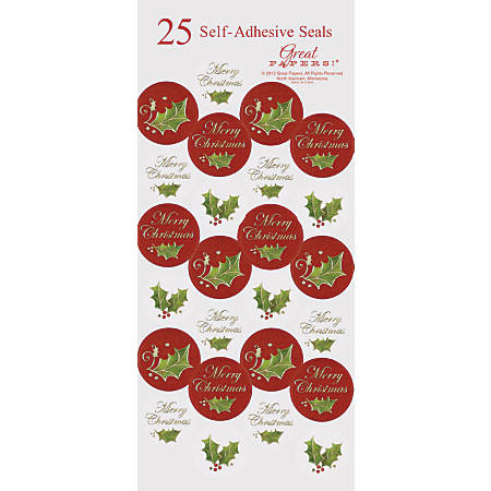 """Great Papers! Holiday Foil Seals, 1"""", Gold/Green/Red, Christmas Holly, Pack Of 50"""