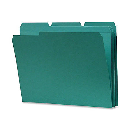 Smead® 1/3-Cut 2-Ply Color File Folders, Letter Size, Teal, Box Of 100