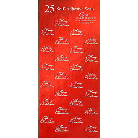 """Great Papers! Holiday Foil Seals, 1"""", Red/White, Merry Christmas, Pack Of 50"""