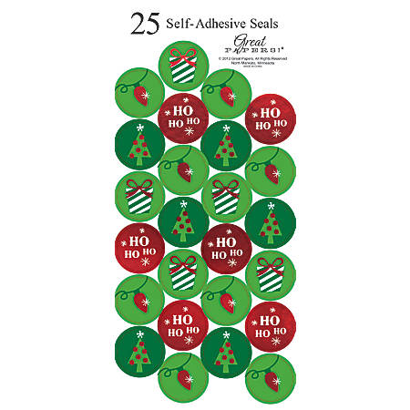 "Great Papers! Holiday Foil Seals, 1"", Green/Red/White, String Of Lights, Pack Of 50"