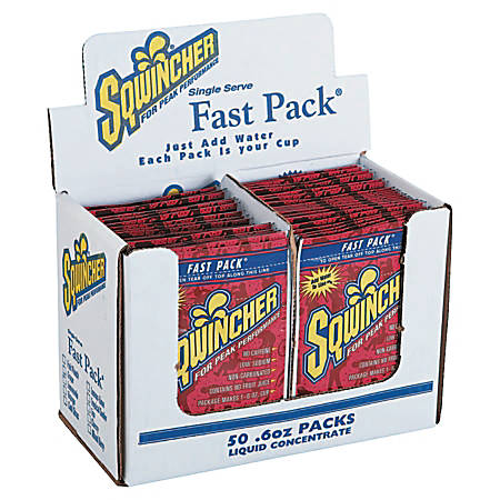 Sqwincher Fast Pack® Electrolyte Replenishment Concentrate, Orange Lite, 0.6 Oz, Case of 200