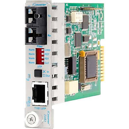 iConverter T1/E1 Fiber Media Converter RJ48 SC Single-Mode 60km Module - 1 x T1/E1; 1 x SC Single-Mode; Internal Module; Lifetime Warranty