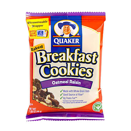 Quaker Breakfast Cookies, Oatmeal Raisin, Box Of 50