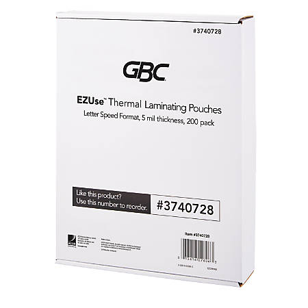 "GBC® EZUse™ Thermal Laminating Speed Pouches, 5 mils, 8 1/2"" x 11"", Clear, Pack Of 200, 3740728"