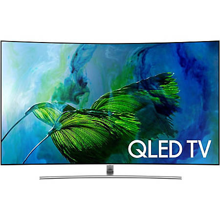 """Samsung Q8C QN55Q8CAMF 55"""" Curved Screen Smart LED-LCD TV - 4K UHDTV - Sterling Silver, Brushed Metal"""