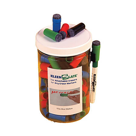 KleenSlate® Eraser Caps For Small Dry-Erase Markers, Assorted, Pack Of 100