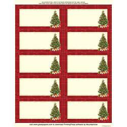 """Great Papers!® Holiday Shipping Labels, 20102933P2, 10-Up, 2"""" x 4"""", Green/Ivory/Red, Lacy Tree, Pack Of 60"""