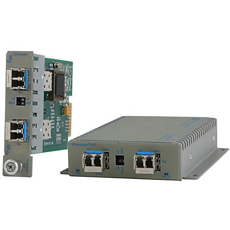 Omnitron Systems iConverter Transceiver - 1000Base-X - 2 x Expansion Slots - 2 x SFP Slots - Wall Mountable