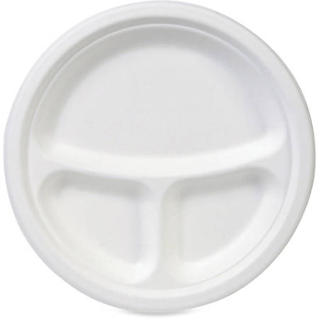 "Dixie EcoSmart 3-compartment Plates - 10"" Diameter Plate - Molded Fiber - Disposable - Microwave Safe - White - 50 Piece(s) / Pack"