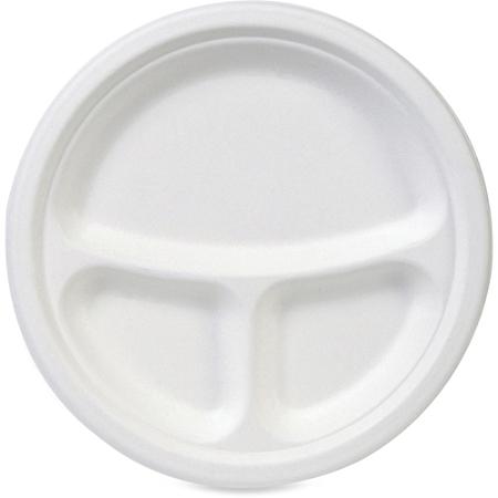 "Dixie EcoSmart 3-compartment Plates - 10"" Diameter Plate - Molded Fiber - Disposable - Microwave Safe - White - 50 Piece(s) / Pack"