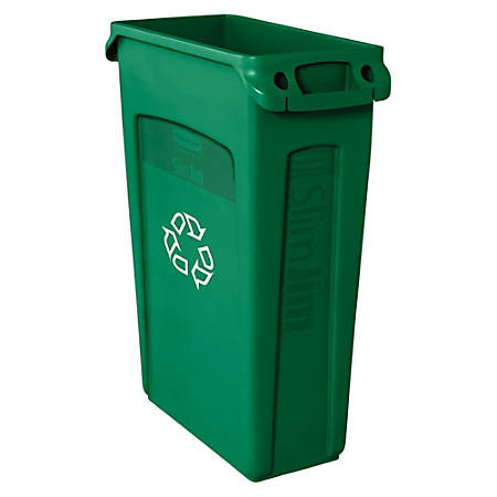 Rubbermaid® Commercial Slim Jim® Waste Receptacle, 23 Gallons, Green