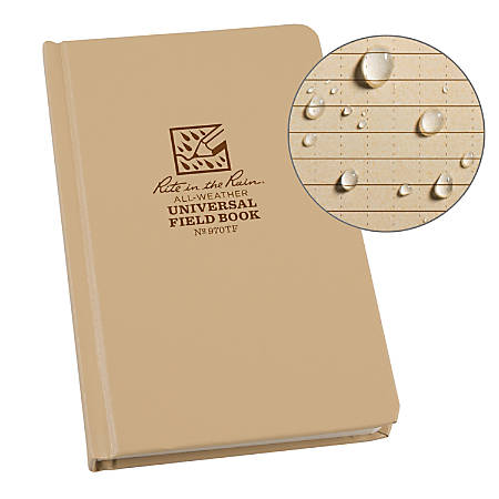 "Rite in the Rain Hardcover Notebook, 4 3/4"" x 7 1/2"", Universal Rule, 160 Pages (80 Sheets), Tan"