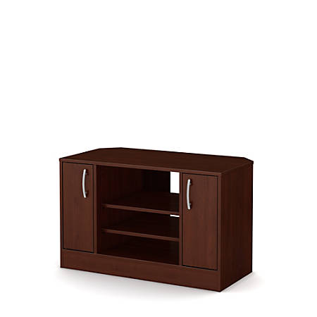 "South Shore Axess Corner TV Stand With Doors For TVs Up To 42"", Royal Cherry"
