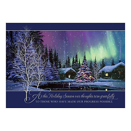 "Custom Embellished Holiday Cards And Foil Envelopes, 7-7/8"" x 5-5/8"", Nature's Tribute, Box Of 25 Cards"