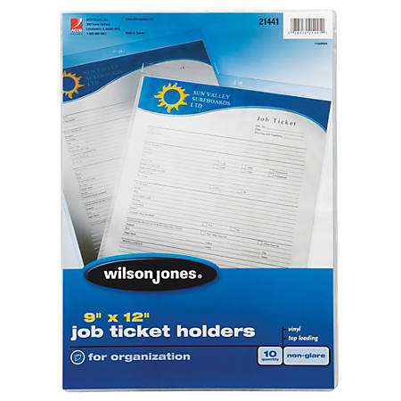"Wilson Jones® Vinyl Job Ticket Holders, 9"" x 12"", Pack Of 10"