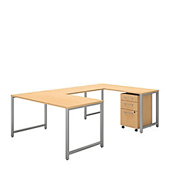 """Bush Business Furniture 400 Series U Shaped Table Desk With 3 Drawer Mobile File Cabinet, 60""""W x 30""""D, Natural Maple, Premium Installation"""