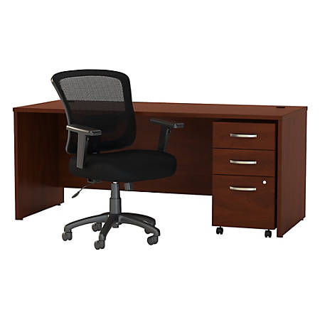 """Bush Business Furniture Components Elite 72""""W Office Desk With Mobile File Cabinet And Mid-Back Executive Chair, Hansen Cherry, Premium Installation"""