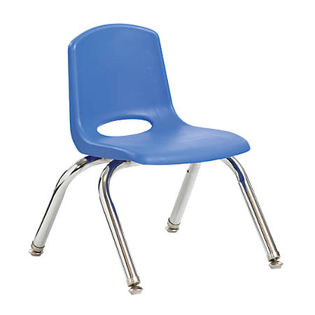 """ECR4Kids® School Stack Chairs, 10"""" Seat Height, Blue/Chrome Legs, Pack Of 6"""