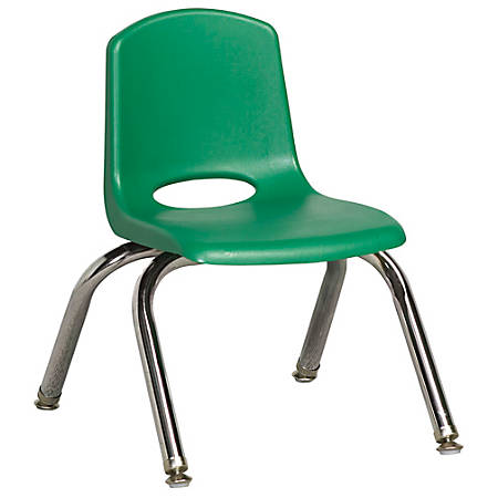 """ECR4Kids® School Stack Chairs, 10"""" Seat Height, Green/Chrome Legs, Pack Of 6"""
