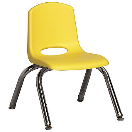 """ECR4Kids® School Stack Chairs, 10"""" Seat Height, Yellow/Chrome Legs, Pack Of 10"""