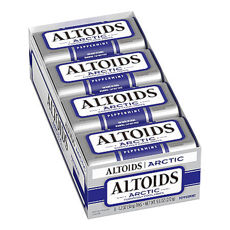 Altoids® Curiously Strong Mints, Arctic Peppermint, 1.2 Oz, Pack Of 8 Tins