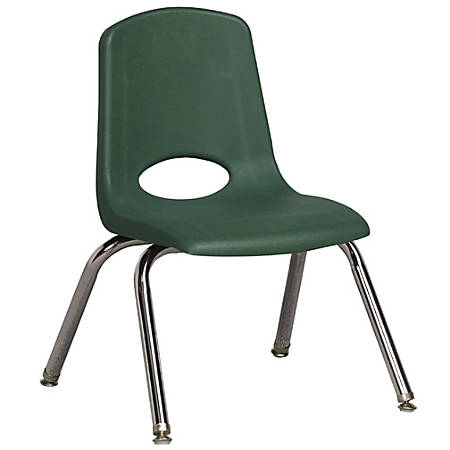 """ECR4Kids® School Stack Chairs, 12"""" Seat Height, Green/Chrome, Pack Of 6"""
