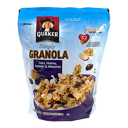 Quaker Simply Granola Oats, Honey, Raisins & Almonds, 34.5 Oz, Pack Of 2 Boxes
