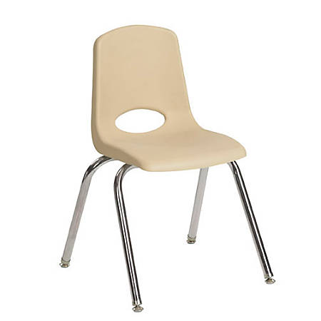 "ECR4Kids® School Stack Chairs, 12"" Seat Height, Sand/Chrome, Pack Of 6"