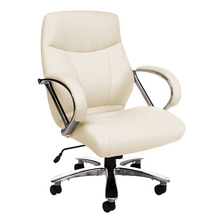OFM Avenger Big And Tall Mid-Back Chair, Cream/Chrome