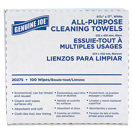 "Genuine Joe All-Purpose Cleaning Towels - 17"" x 9.50"" - White - Fabric - Absorbent, Medium Duty, Reusable - For Multipurpose - 100 Sheets Per Box - 1000 / Carton"