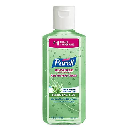Purell Instant Hand Sanitizer w/Aloe, 4-oz. Flip-Cap Bottle, 24/Carton