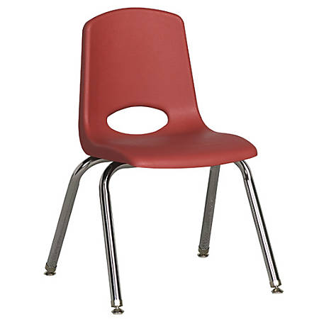 """ECR4Kids® School Stack Chairs, 14"""" Seat Height, Red/Chrome Legs, Pack Of 6"""