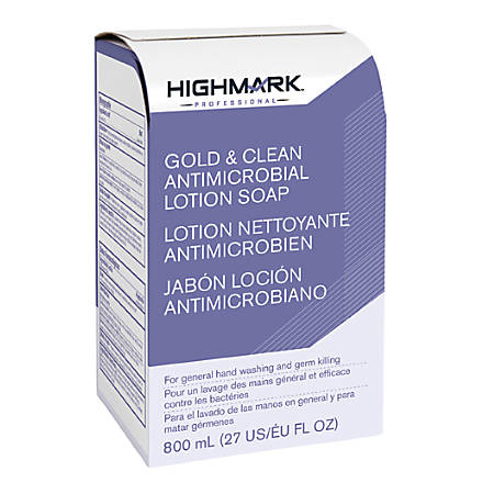Highmark® Professional, Gold & Klean Antimicrobial Lotion Soap, 800 mL, Case Of 12