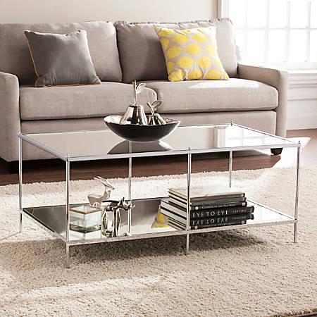Southern Enterprises Knox Glam Mirrored Cocktail Table, Rectangular, Chrome