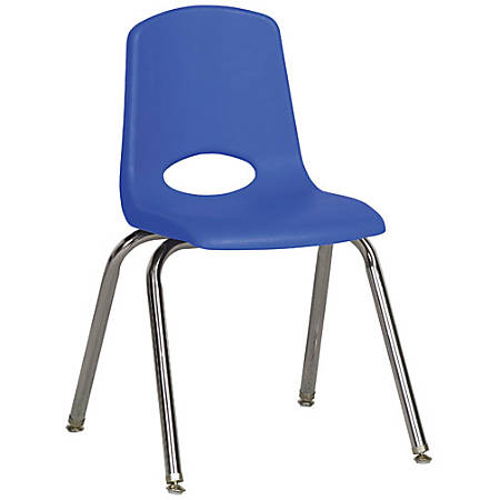 """ECR4Kids® School Stack Chairs, 16"""" Seat Height, Blue/Chrome Legs, Pack Of 6"""