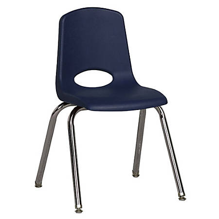 """ECR4Kids® School Stack Chairs, 16"""" Seat Height, Navy/Chrome Legs, Pack Of 6"""