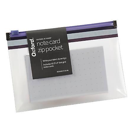 Oxford® At Hand Note Card Zip Pocket, Indigo
