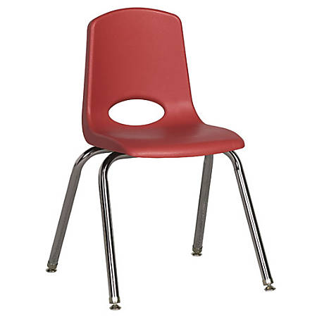 """ECR4Kids® School Stack Chairs, 16"""" Seat Height, Red/Chrome Legs, Pack Of 6"""