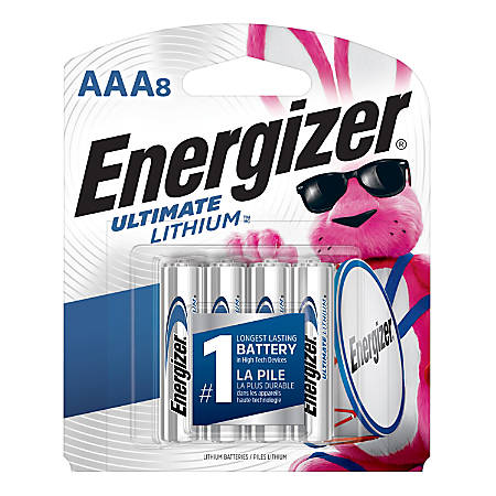 Energizer® Ultimate Lithium™ Batteries, AAA, Pack Of 8, L92SBP-8