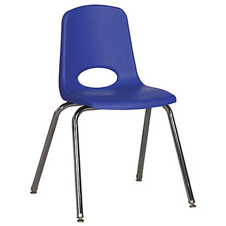 """ECR4Kids® School Stack Chairs, 18"""" Seat Height, Blue/Chrome Legs, Pack Of 5"""