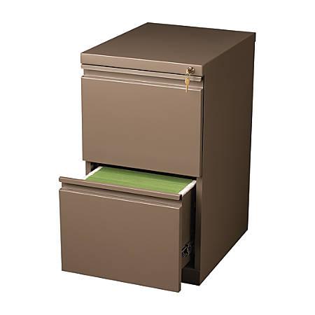 "WorkPro® 20""D 2-Drawer Metal Mobile Pedestal Vertical File Cabinet, Medium Tone"