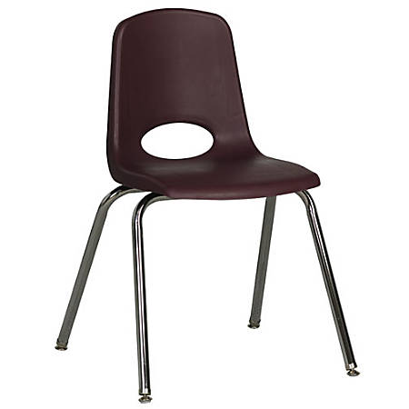 "ECR4Kids® School Stack Chairs, 18"" Seat Height, Burgundy/Chrome Legs, Pack Of 5"