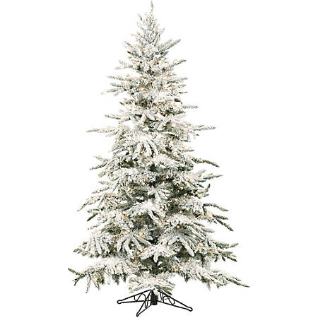 Fraser Hill Farm Artificial Flocked Mountain Pine Christmas Tree With Smart String Lighting, 9'