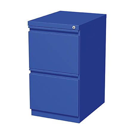 """WorkPro® 20""""D 2-Drawer Metal Mobile Pedestal Vertical File Cabinet, Blue"""