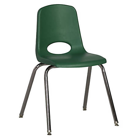 """ECR4Kids® School Stack Chairs, 18"""" Seat Height, Green/Chrome Legs, Pack Of 5"""