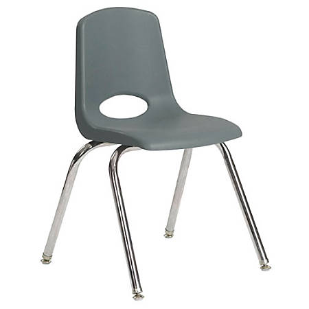 """ECR4Kids® School Stack Chairs, 18"""" Seat Height, Gray/Chrome Legs, Pack Of 5"""