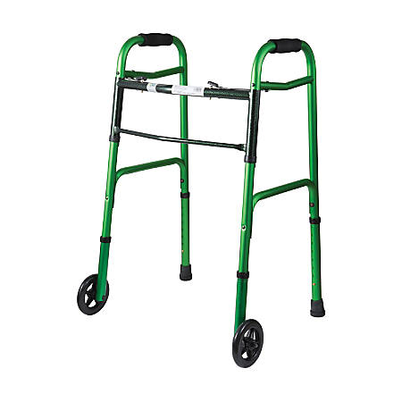 "DMI® Adjustable Aluminum Folding Walkers With 2-Button Release, 38""H x 25""W x 13""D, Green Ice, Pack Of 2"
