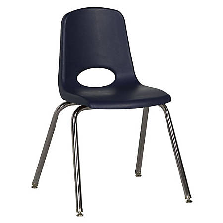 "ECR4Kids® School Stack Chairs, 18"" Seat Height, Navy/Chrome Legs, Pack Of 5"